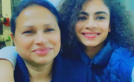 Harmilan Kaur with her mother