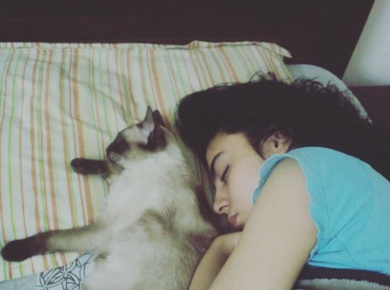 Mehar Bano cuddling with her cat