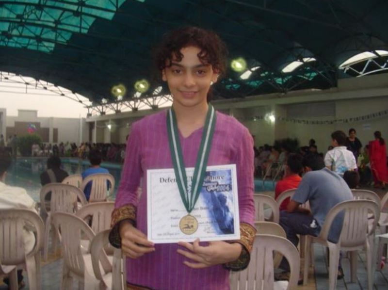 Mehar Bano won a medal at a state-level swimming competition