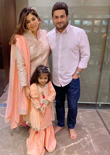 Pooja Dadlani with her husband and daughter