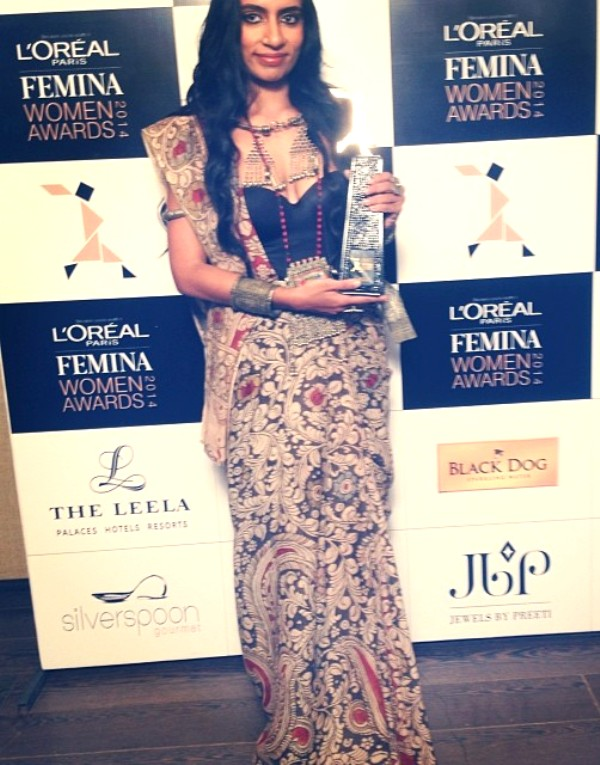 Shilo Shiv Suleman posing with her Femina 'Woman of Worth' (2014)