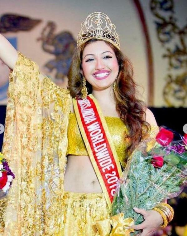 Shree Saini after winning the title Miss India Worldwide in 2018