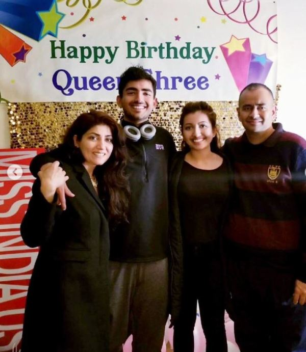 Shree Saini with her parents and brother