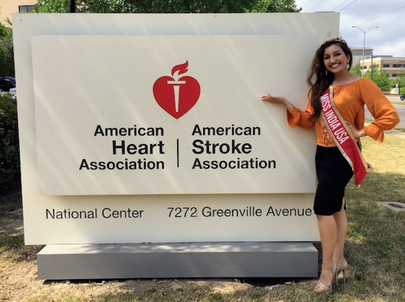 Shree before participating in a heart health event in America