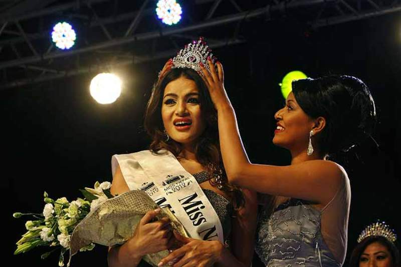 Shristi Shrestha being crowned during the Miss Nepal contest in Katmandu, Nepal in 2012