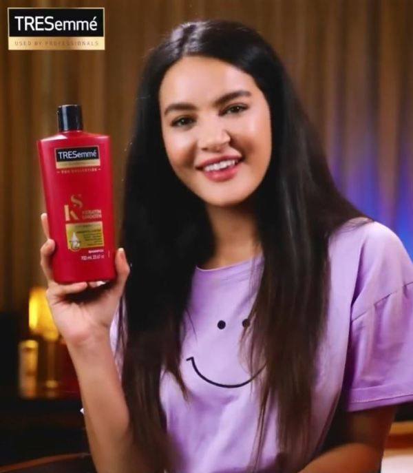 Shristi while promoting a commercial product on her social media account