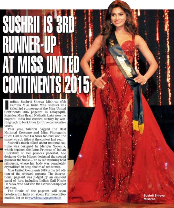 Sushrii Mishra as the 3rd runner-up of the Miss United Continents 2015