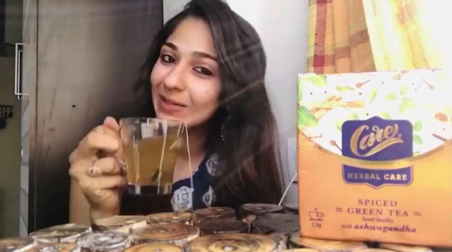 Vidhi Pandya while endorsing a commercial product on her Instagram account.