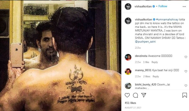 Vishal`s Instagram post about his back tattoo